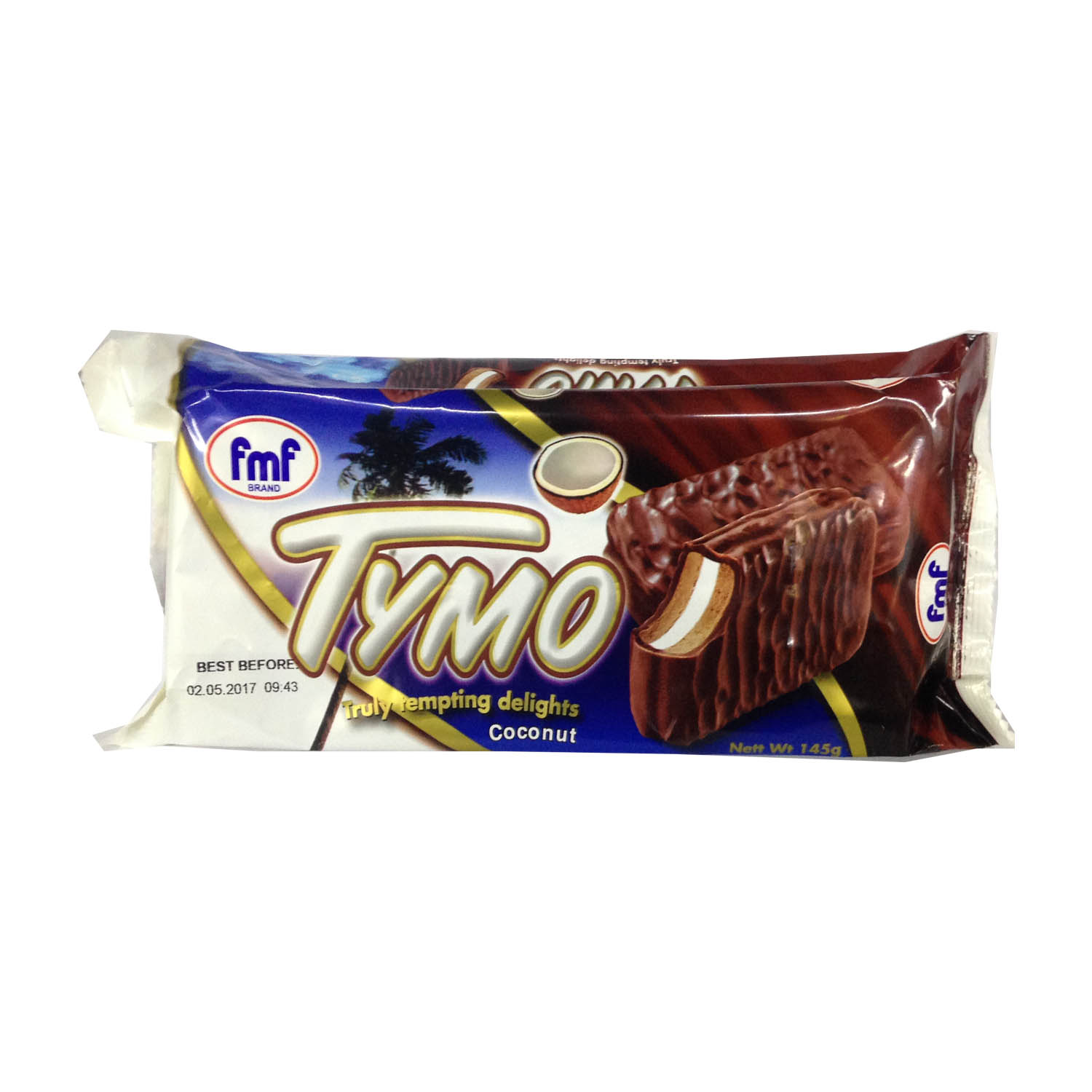 FMF Tymo Chocolate Coated Biscuit - Coconut 145g