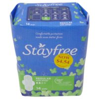 Stayfree Sanitary Pads - Regular With Wings 14's