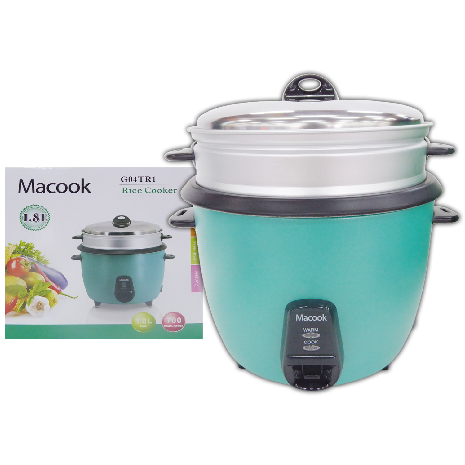 Macook Rice Cooker with Steamer - 1.8Ltr - 10 cups