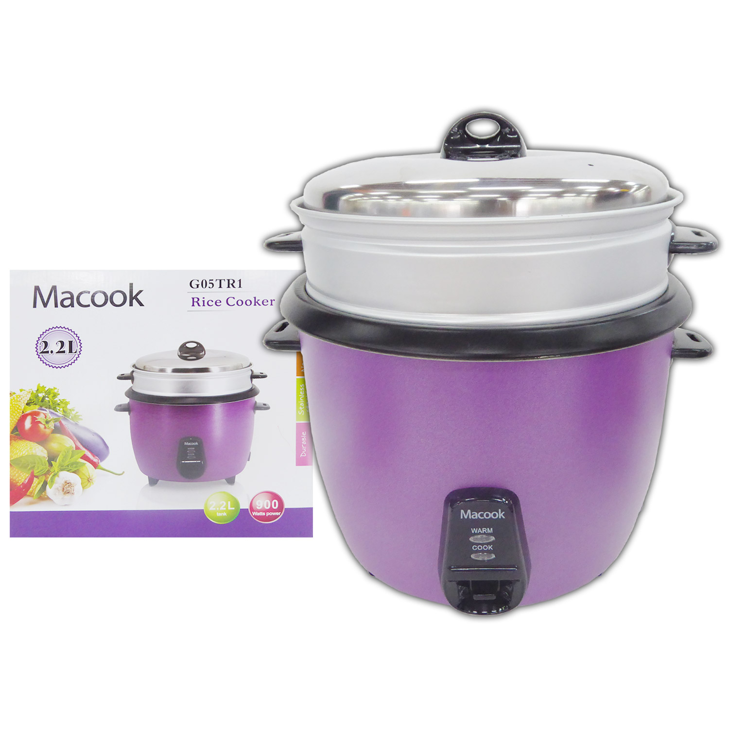Macook Rice Cooker with Steamer - 2.2Ltr - 15 cups
