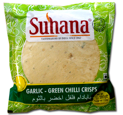 Suhana Garlic-Green Chilli Crisps 200g