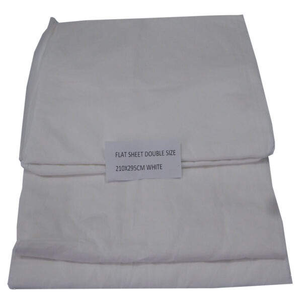 White Flat Sheet Double Bed 210x295cm #41808032011
