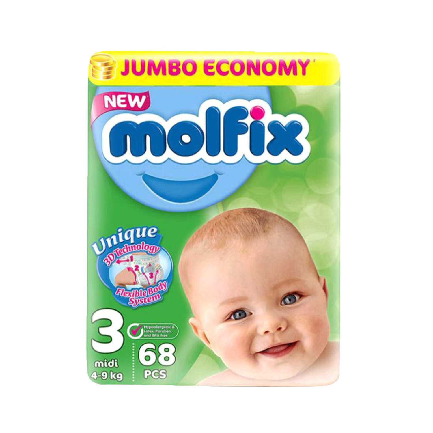 Molfix MEDIUM Diaper Jumbo Pack 68's