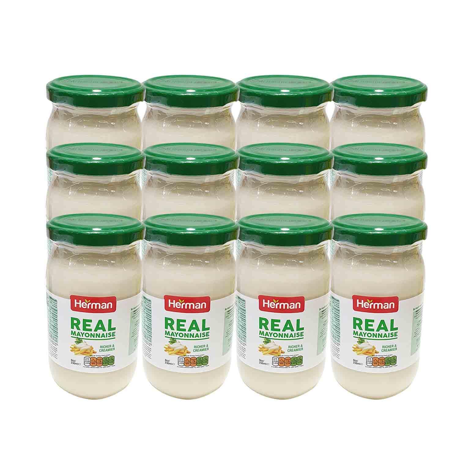 Herman Mayonnaise Glass Jar 236ml x12(Ctn)